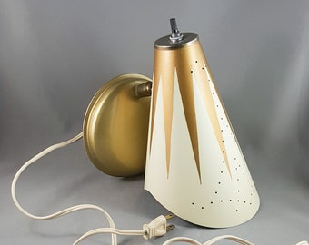 Wonderful Mid Century Brass and Metal Perforated Cone Sconce Wall Lamp for reading or Accent lamp