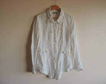FREE SHIPPING - Vintage White 100% linen asymmetric Blouse/ blazer with buttons and belt, size 1