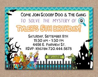 Scooby chevron etsy scooby doo birthday invitation scooby doo monster party boy birthday printable filmwisefo