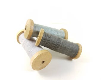 3 set Antique Wooden Machine Bobbins Spool Rustic cotton string wool French Vintage Industrial photography prop, photoprop oak blue grey
