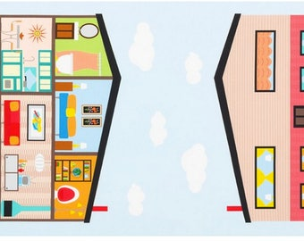Mid Century Modern House and Rooms by Abby Hersey from Let's Play House by Robert Kaufman Fabrics Dollhouse Panel