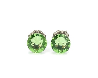 Titanium Stud Earrings Green Peridot Swarovski Crystal Studs, Titanium Posts for Sensitive Ears, No Nickel Hypoallergenic Jewellery