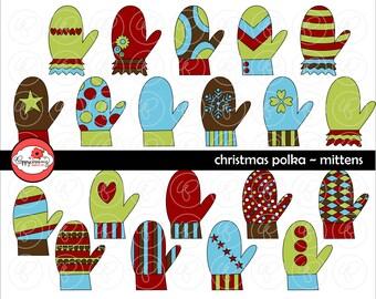 Christmas Polka Mittens: Digital Scrapbook Paper Pack (300 dpi) Stripes Polka  Dots Digital Scrapbook