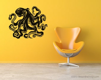 Giant octopus Wall Decal 54 inches wide | Octopus wall art nautical tentacles kraken octopus decal livingroom wall art octopus decor