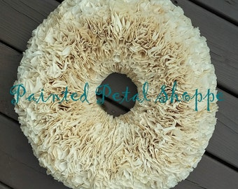"18"" Tea-Stained Cream Coffee Filter Wreath/ Rustic Home Decor/ Shabby Chic Wedding"