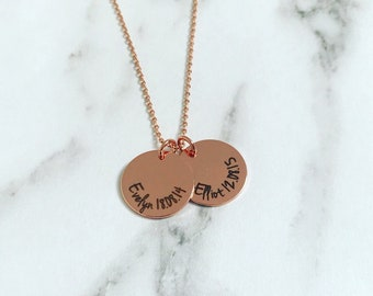Double disc Personailsed Name and Date necklace
