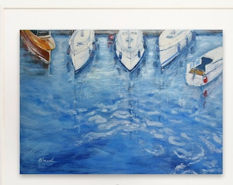 Yacht Club in Italy, Oil painting, Original canvas painting, Seascape Painting, Wall Art, Ocean Art, Handmade