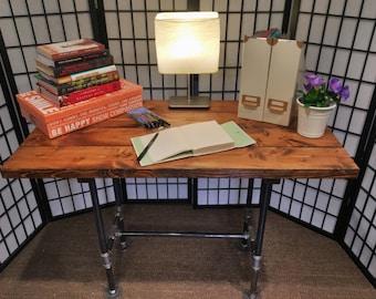 Industrial Rustic Wood Black Iron Pipe Table