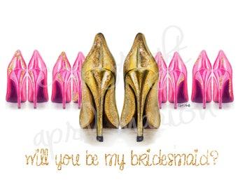 Bridesmaid Invitation Card Print | Fashion Illustration, Glitter, Drawing, Art, Painting, Party, Wedding, Bride, Women, Gold Sparkles, Heels