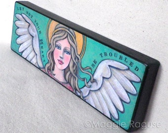 ANGEL mounted PRINT of folk art painting by Maggie Raguse
