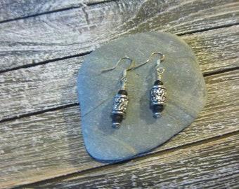 Midnight Sky - Dangle Earrings (barrel bead)