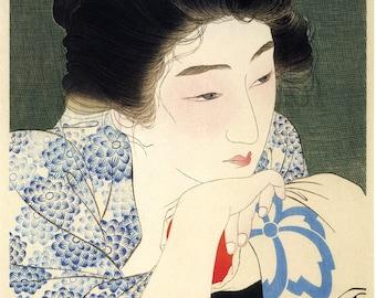 Japanese Art. Fine Art Reproduction. Morning Hair, 1930. Torii Kotondo. Fine Art Print