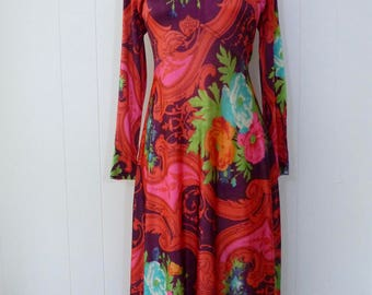 70's Slinky Psychedelic Dress Swirling Rococo Paisley Floral Full Length Long Sleeve Flowing Draped Maxi Skirt M