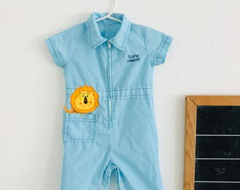 Vintage baby blue romper, 60s baby outfit, 60s little boy outfit, 60s baby romper, collared vintage baby outfit, vintage lion
