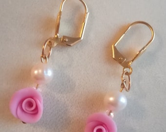 rose earrings with real pearl,,