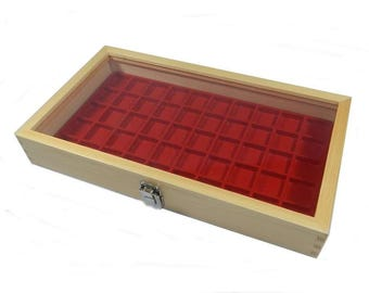Key Locking Natural Wood Glass Top Lid Red 50 Space Ring Case Charm Case Pin or Coin Display Case
