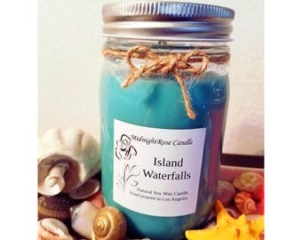 Island Waterfalls Candle - Summer - Blue Scented Candle - Container Candle - Hand poured Natural Soy Wax - Mason Jar Candle (8 oz & 16 oz)