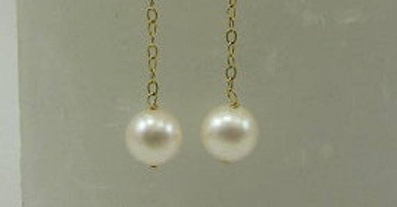 Freshwater White 7.2mm Pearl Earring with 14k Yellow Gold Chain and Lever Backs