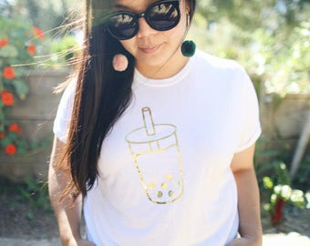 Adult boba milk tee - gold foil