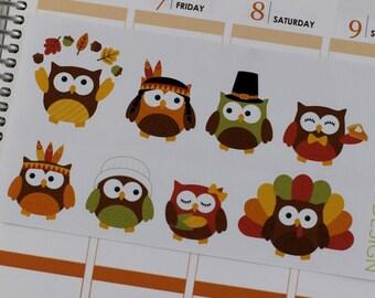 Thanksgiving Owl Planner Stickers, Owl Stickers, Fall Owls, Autumn Owl Stickers, Erin Condren Planner Stickers