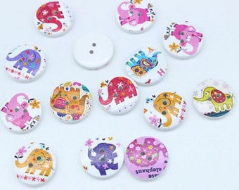 10 x Elephant Buttons 20mm