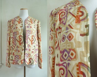 70s southwestern tapestry jacket geometric tribal jacket 1970s woven southwest jacket open front blazer jacket womens small