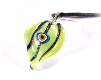 Green Leaf Evil Eye Pendant Necklace