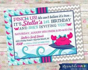 Surf On Over, Girl Beach Birthday Bash, Crab Invite, Nautical Invite, Chevron, Pinch Us, Crabby, Crabs, DIY Printable or Printed
