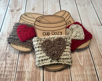 Valentine's Day Coffee Cup Cozy/Set of 3 Coffee Cup Cozies/Heart Coffee Cup Cozy/Crochet Coffee Cup Cozy- MADE TO ORDER
