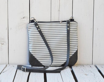 Nautical striped Crossbody bag, Canvas and Leather, Slouchy minimalist bag, Boho bag, Shoulder bag, unique gift for women wife, grey bag
