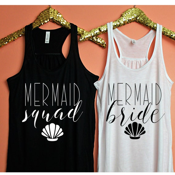 Bachelorette Party Shirts Mermaid Bride Squad Tank Top Tanks Nautical
