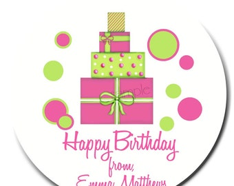 Birthday Gift Stickers, birthday present, labels, 3 COLOR CHOICES,Girls, Boys, Children, Kids, Favor, Polka Dots, Set of 12