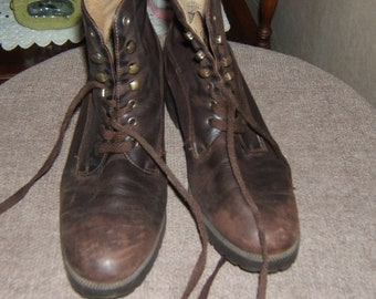 9 & Co Brown Leather Boot Shoes Size 7M 1980's