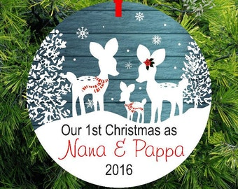 First Christmas as Nana & Papa Ornament | Baby Boy 1st Ornament | Woodland Deer Ornament | 1st Christmas Gift #COPD3 by lovebirdschristmas