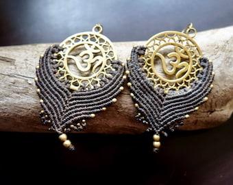 Om Macrame Brass Earrings | Dark Brown, Sacred Geometry | Bohemian Chic