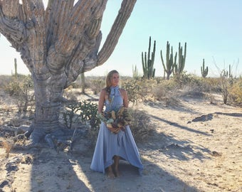 Shiplap Medium Gray~ Tulip Cut Infinity Wrap Dress. Custom Choose Your Fabric. Bohemian Bridal, Bridesmaids, Desert Wedding