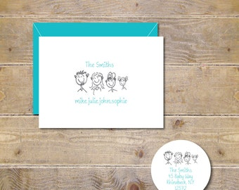 Family Note Cards, Family Stationery, Stationary, Family Sketch, Note Cards, Thank You Cards, Family, Names