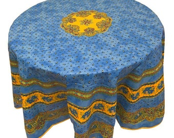 """Blue and Yellow Floral Tablecloth, French Country Tablecloth, 70"""" Round Acrylic Coated Tablecloth"""