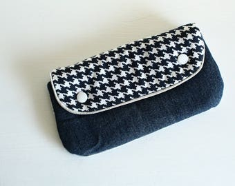 Mini clutch, quilted recycled denim and cotton print houndstooth Navy Blue and silver piping
