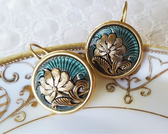 Czech Glass Earrings Art Nouveau, Turquoise and Gold Earrings Button Jewelry Upcycled, Lovely Gifts veryDonna