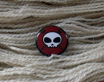 "Knit Skull 1"" Button for Knitting Knitters Who Knit"
