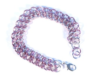 Silver and Pink Chainmaille Anodized Aluminum GSG Bracelet - Free Shipping Canada and Continental US