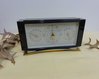 Mid-Century Modern Airguide Barometer, Desk Barometer Looks Like TV, Humidity, Room Temp, Bakelite?  #785