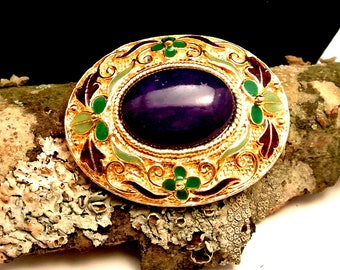 Purple Cabochon Gold Tone Brooch Vintage Brooch Green and Purple Embossed Gold Tone Edge