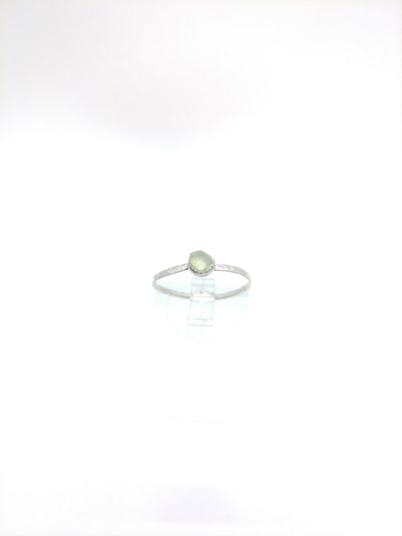 Natural Green Tourmaline Ring   Sterling Silver Ring Sz 7    Raw Green Tourmaline Ring   Raw Crystal Ring   Uncut Gemstone Ring