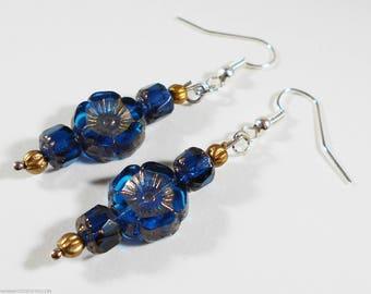 Metallic Earrings Dark Blue Flowers Gold Earrings Navy Blue Earrings Boho Jewelry Boho Earrings Glass Earrings Flower Earrings