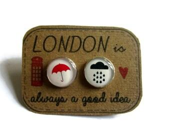 Rainy Day Earrings- LONDON EARRINGS- Umbrella Earrings- Cloud Earrings- umbrella earrings- cloud stud earrings- London city- london jewelry