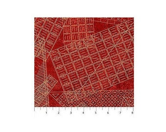 A Stitch in Time~Sewing Rulers On Rust Cotton Fabric By Northcott