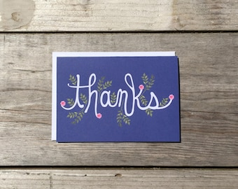"Thank You Card Set | Hand Lettered & Illustrated ""Thanks"" Card Set - Set of 8"