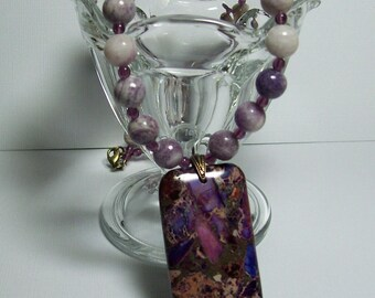Charoite Necklace with Purple Jasper Pendant. Purple Necklace. Chunky. Stone Necklace. Statement Necklace.